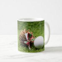 Golf Christmas with golf ball tee and pine cone Coffee Mug