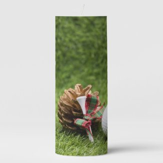 Golf Christmas with golf ball tee and pine cone Pillar Candle