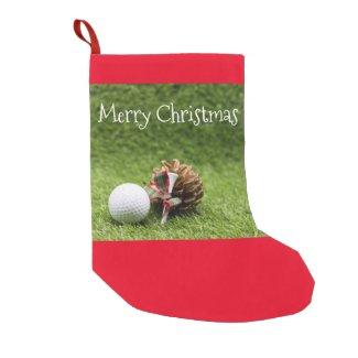 Golf Christmas with golf ball tee and pine cone Small Christmas Stocking