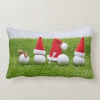 Golf Christmas with golf balls and Santa hats Lumbar Pillow