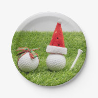 Golf Christmas with golf balls and Santa hats Paper Plate
