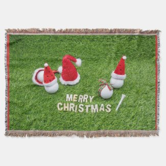 Golf Christmas with golf balls and Santa hats Throw Blanket