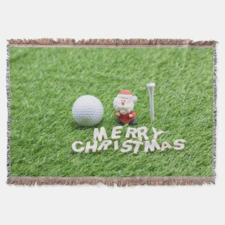 Golf Christmas with Santa and golf ball on green Throw Blanket