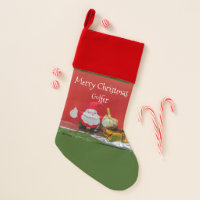 Golf Christmas with Santa Claus and golf ball Christmas Stocking