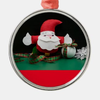 Golf Christmas with Santa Claus and golf ball Metal Ornament