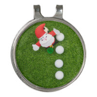 Golf Christmas with Santa Claus and Golf balls Golf Hat Clip