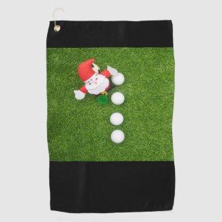 Golf Christmas with Santa Claus and Golf balls Golf Towel