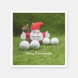 Golf Christmas with Santa Claus and golf balls Napkins