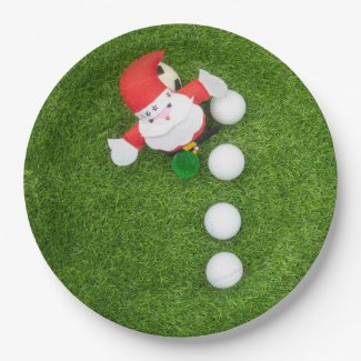 Golf Christmas with Santa Claus and Golf balls Paper Plate