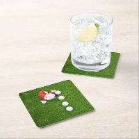 Golf Christmas with Santa Claus and Golf balls Square Paper Coaster