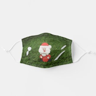 Golf Christmas with Santa Claus and tee on green Cloth Face Mask