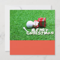 Golf Christmas with Santa Claus Golf ball Tee gift Card