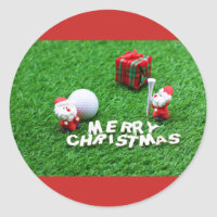 Golf Christmas with Santa golf ball and tee Classic Round Sticker
