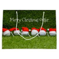 Golf Christmas with Santa hats and golf balls Large Gift Bag