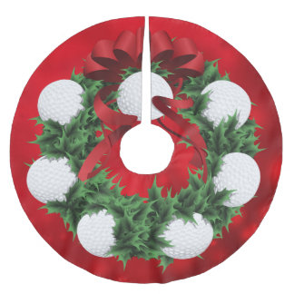 Golf Christmas Wreath with red Sparkle Back Brushed Polyester Tree Skirt