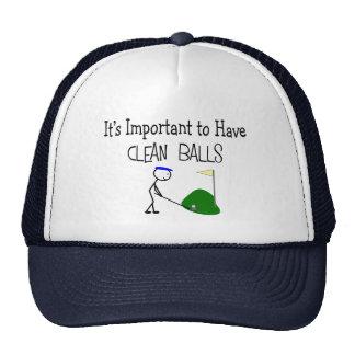 Golf CLEAN BALLS Golf Humor Gifts Mesh Hats