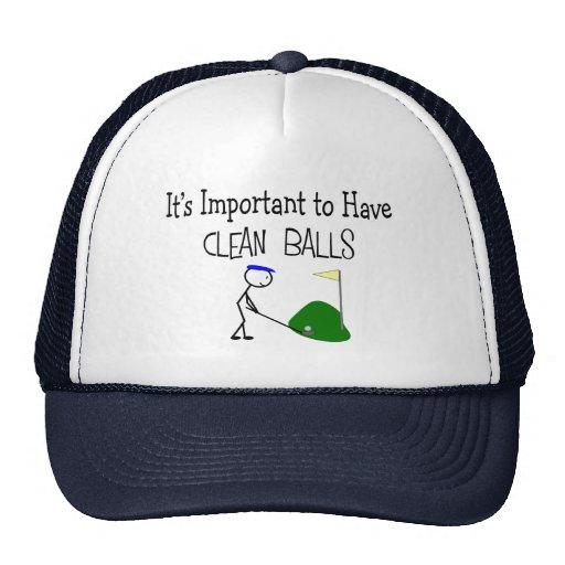 "Golf ""CLEAN BALLS""  Golf Humor Gifts Mesh Hats"