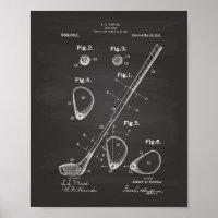 Golf Club 1910 Patent Art - Chalkboard Poster