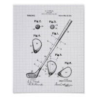 Golf Club 1910 Patent Art - Lined Peper Poster