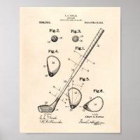 Golf Club 1910 Patent Art - Old Peper Poster
