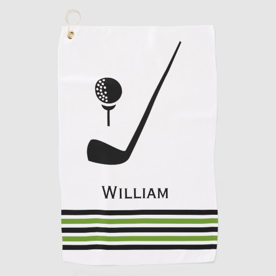 Golf club and ball black and green stripes golf towel