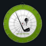 "Golf club and ball black, green custom dartboard<br><div class=""desc"">Golf club and ball black, green custom gift design that features a minimalist icon of a black golf club and ball and your text on white background. This cool design is a template and it is completely customizable. Personalize it and change text with monogram, name or your message. The modern,...</div>"