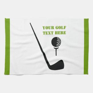 Golf club and ball black, green custom kitchen towel