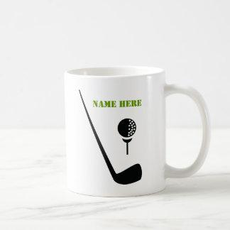 Golf club and ball black green custom mug