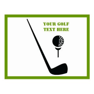 Golf club and ball black, green custom post card