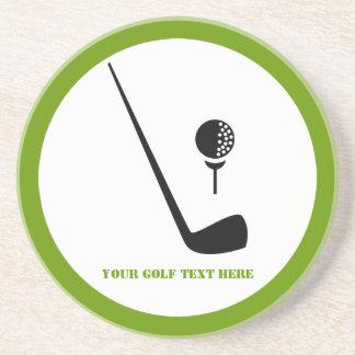 Golf club and ball black, green custom sandstone coaster