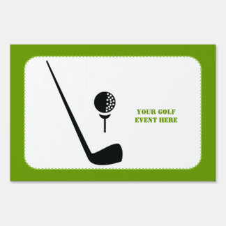 Golf club and ball black, green custom sign