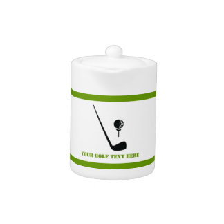 Golf club and ball black, green custom teapot