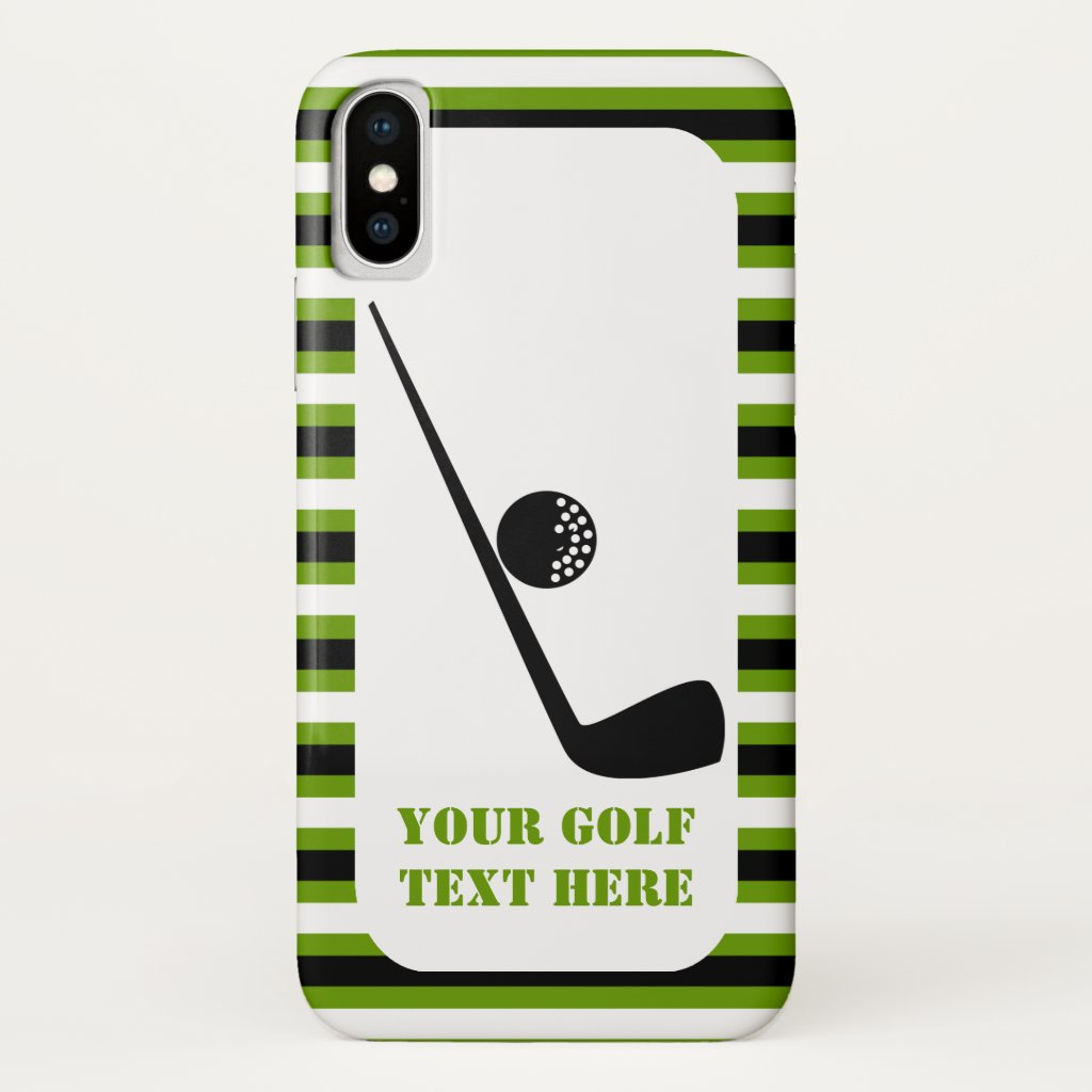 Golf club and ball black, green stripes
