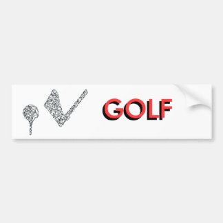 GOLF - CLUB AND BALL BUMPER STICKERS