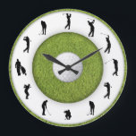 """Golf Club Golfer Figure Grass Design Clock<br><div class=""""desc"""">Golf Club Golfer Figure Grass Design Clock. Stylish, funny and crazy wall clocks! Classical, bright, glamorous, colorful, cheerful, childish, and witty – the choice of clocks is so varied that everyone can find a well designed and creative clock regardless of their gender or age! Perfect gift for family or friends!...</div>"""
