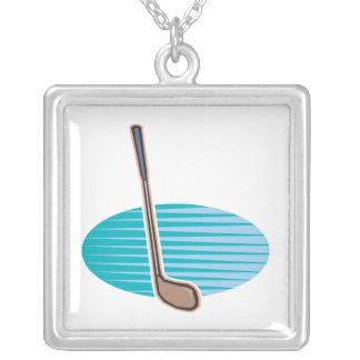 Golf Club Square Pendant Necklace