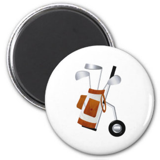 Golf Clubs and Bag 2 Inch Round Magnet