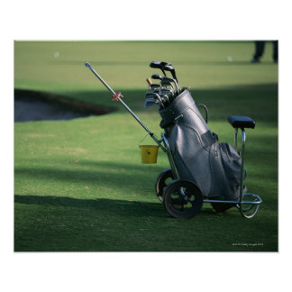 Golf clubs and golf bag poster