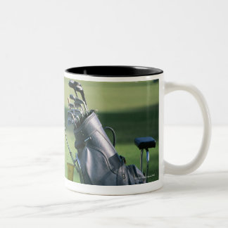 Golf clubs and golf bag Two-Tone coffee mug