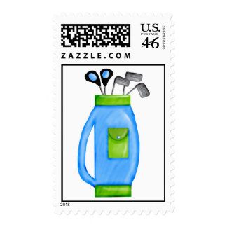 Golf Clubs Blue and Green Postage Stamps