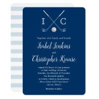 Golf Clubs Blue Monogram Stripe Wedding Invitation