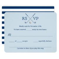 Golf Clubs Blue Striped Wedding RSVP Card 4.25x5.5