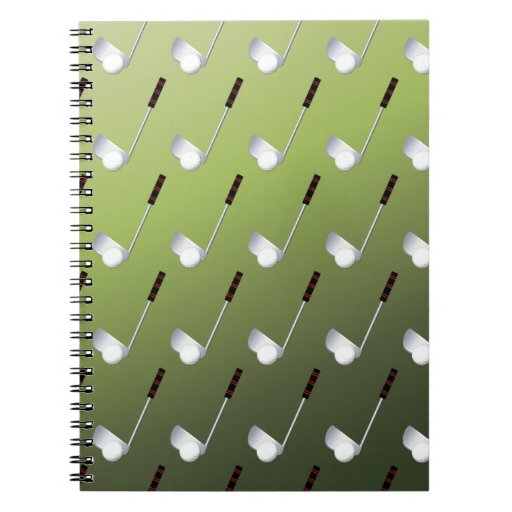 Golf Clubs on Green Spiral Note Book