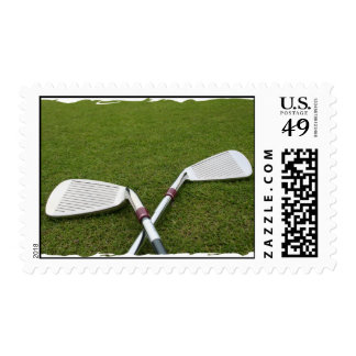 Golf Clubs on Postage Stamp