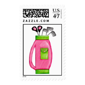 Golf Clubs Pink and Green Postage Stamps