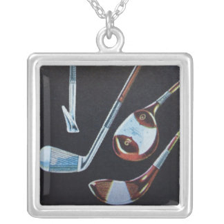 Golf Clubs Square Pendant Necklace