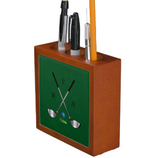 Golf Clubs with Golf Ball and Monogram Desk Organizer