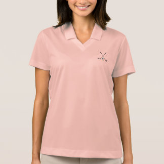 GOLF Clubs with Golf Ball Pink Womens Polo Shirt