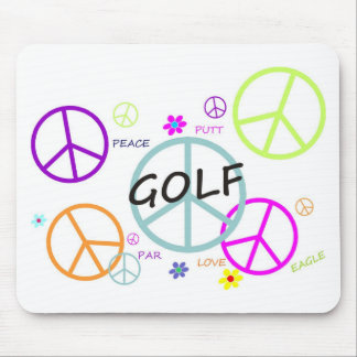 Golf Colored Peace Signs Mouse Pad