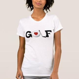Golf con la camiseta de la pelota de golf
